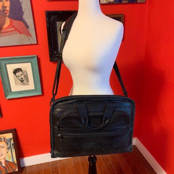 1 TUMI Leather Organizer Portfolio Briefcase